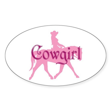 Pink Cowgirl w/ Text Oval Sticker