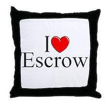 """""""I Love (Heart) Escrow"""" Throw Pillow"""
