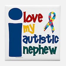 I Love My Autistic Nephew 1 Tile Coaster