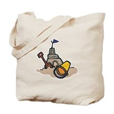 Summer Beach Sand Castle Design Tote Bag