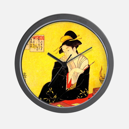 Immortal Poets Eishi Ukiyo-e Wall Clock
