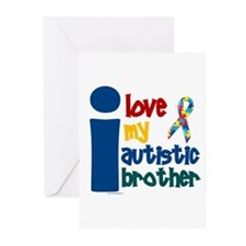 I Love My Autistic Brother 1 Greeting Cards (Pk of