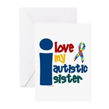 I Love My Autistic Sister 1 Greeting Cards (Pk of