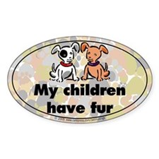 Furkids (dogs) Oval Decal