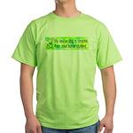 Green T-Shirt. Smart rescue dog.