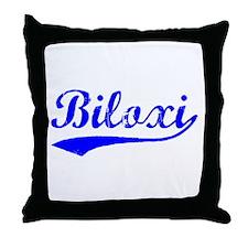 Vintage Biloxi (Blue) Throw Pillow