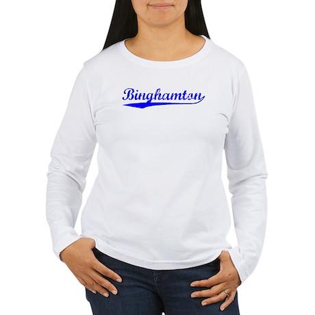 Vintage Binghamton (Blue) Women's Long Sleeve T-Sh