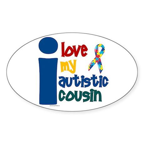 I Love My Autistic Cousin 1 Oval Sticker