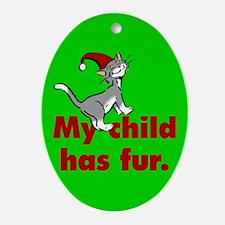 Oval Ornament. My child has fur (cat)