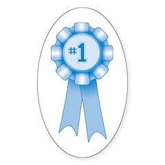 First Place Blue Ribbon Oval Sticker (10 pk)