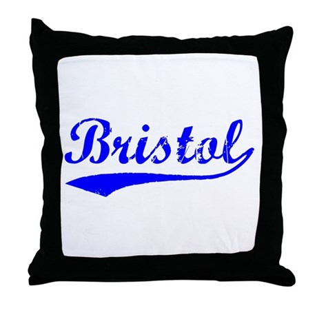 Vintage Bristol (Blue) Throw Pillow