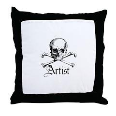 Artist - Skull and Crossbones Throw Pillow