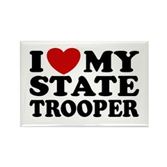 I Love My State Trooper Rectangle Magnet