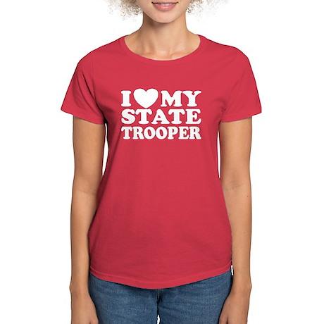 I Love My State Trooper Women's Dark T-Shirt