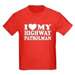 I Love My Highway Patrolman Kids Dark T-Shirt