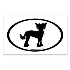 Chinese Crested Oval Rectangle Decal