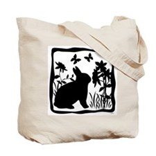 SPRING KITTY/BUNNY SILHOUETTE Tote Bag