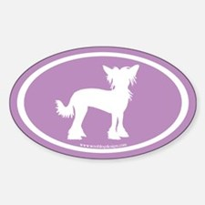 Chinese Crested Oval (white/purple) Oval Decal