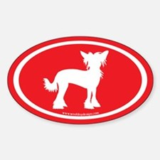 Chinese Crested Oval (white on red) Oval Decal