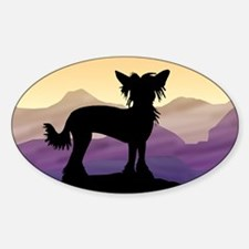 Chinese Crested Purple Mt. Oval Decal