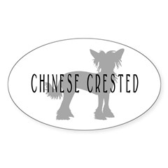 Chinese Crested w/text Oval Decal