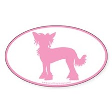 Chinese Crested Pink (w/ border) Oval Decal