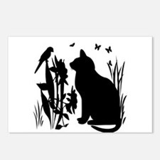 SPRING KITTY SILHOUETTE Postcards (Package of 8)