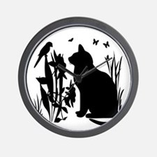 SPRING KITTY SILHOUETTE Wall Clock