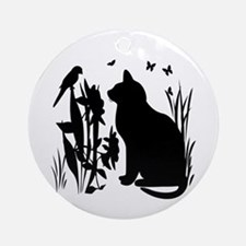 SPRING KITTY SILHOUETTE Ornament (Round)