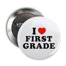 """I Heart/Love First Grade 2.25"""" Button"""