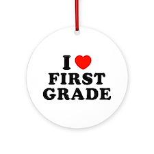 I Heart/Love First Grade Ornament (Round)