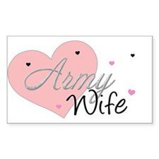 Army Wife Hearts Rectangle Decal