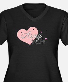 Army Wife Hearts Women's Plus Size V-Neck Dark T-S