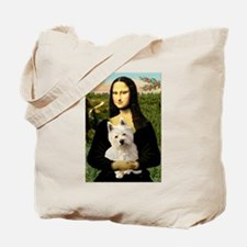 Mona Lisa & West Hightland Tote Bag