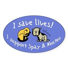 I Save Lives! Spay & Neuter Oval Sticker (10 pk)