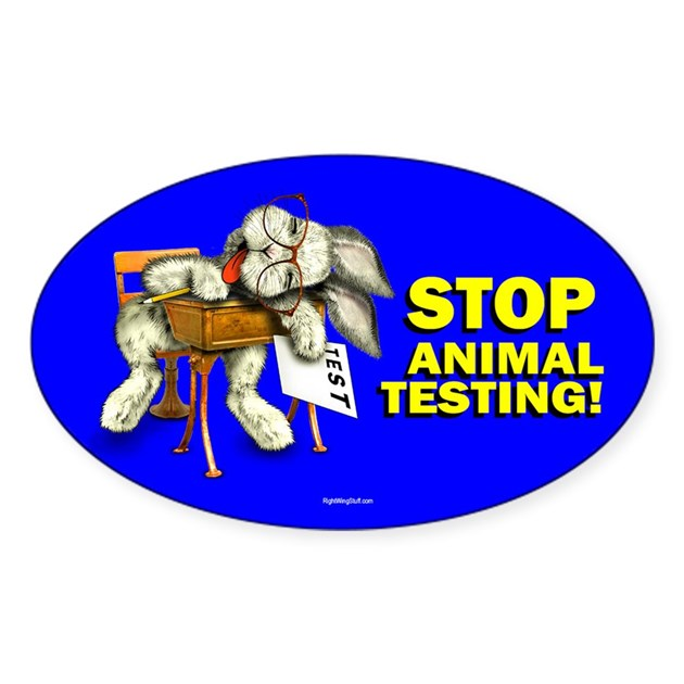 Stop Animal Testing Oval Decal By Rightwingstuff