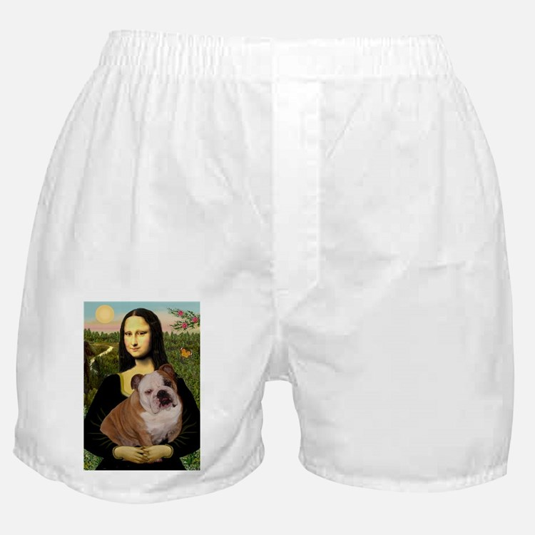 Mona Lisa & English Bulldog Boxer Shorts
