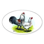 Ameraucana Rooster and Hen Oval Sticker (10 pk)