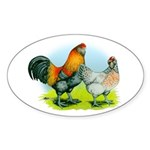 Ameraucana Chickens Oval Sticker (10 pk)