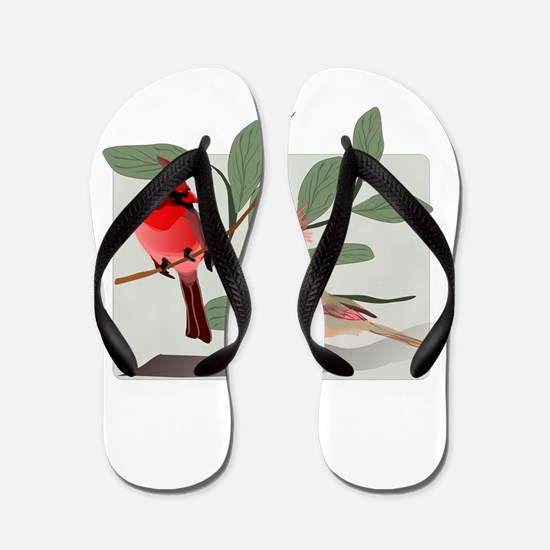 Cardinal Couple on Cut Out Tree Branch Flip Flops