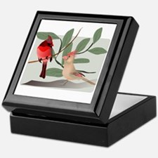 Cardinal Couple on Cut Out Tree Branc Keepsake Box