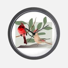 Cardinal Couple on Cut Out Tree Branch Wall Clock