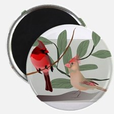 Cardinal Couple on Cut Out Tree Branch Magnets