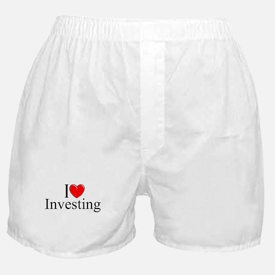 """I Love (Heart) Investing"" Boxer Shorts"