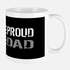 U.S. Flag Grey Line: Proud Dad (Black) Mug