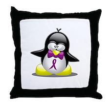 Cute Purple penguin Throw Pillow