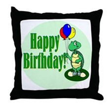 Happy Birthday Turtle Throw Pillow