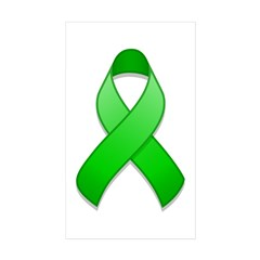 Green Awareness Ribbon Rectangle Sticker 50 pk)