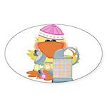 Garden Time Baby Girl Ducky Duck Sticker (Oval 10