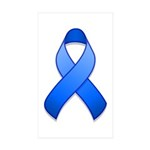 Blue Awareness Ribbon Rectangle Sticker 10 pk)